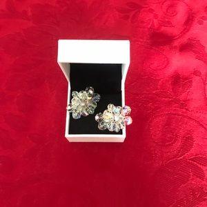 Vintage Earrings Clear Crystal  Clip On